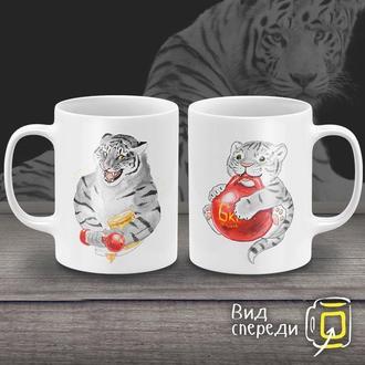 """К000251Парные белые чашки (кружки) с принтом """"Тигры"""""""