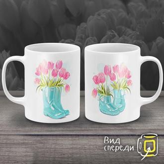 """К000253Парные белые чашки (кружки) с принтом """"Тюльпаны"""""""