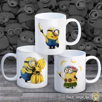 """К000265Семейные белые чашки (кружки) с принтом """"Миньоны и бананы"""""""