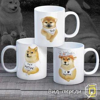 """К000270Семейные белые чашки (кружки) с принтом """"Собаки"""""""