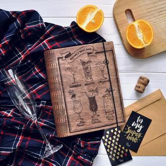 """Блокнот из дерева / Деревянный блокнот / Подарок бармену """"Secret barmen's book"""""""