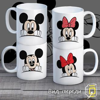 """К000283Семейные белые чашки (кружки) с принтом """"Семья Маусы"""""""