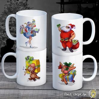 """К000289Семейные белые чашки (кружки) с принтом """"Дед Мороз. Снегурочка. Олени"""""""