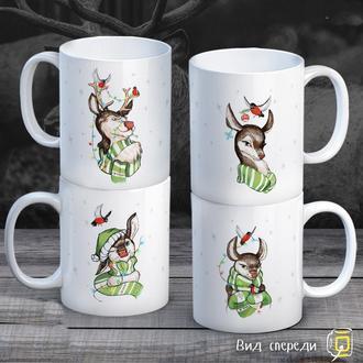 """К000291Семейные белые чашки (кружки) с принтом """"Новый Год: Олени"""""""