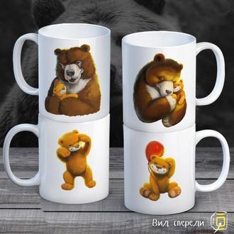 """К000292Семейные белые чашки (кружки) с принтом """"Медведи"""""""