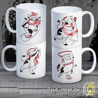 """К000294Семейные белые чашки (кружки) с принтом """"Коровы - Новый Год"""""""
