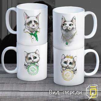 """К000298Семейные белые чашки (кружки) с принтом """"Котейки"""""""