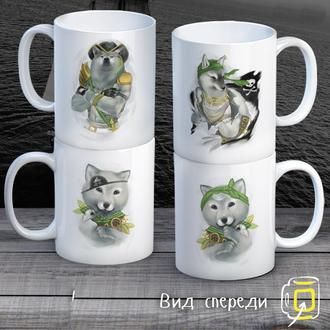 """К000299Семейные белые чашки (кружки) с принтом """"Волки пираты"""""""