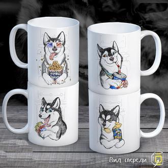 """К000308Семейные белые чашки (кружки) с принтом """"Собаки в кино"""""""