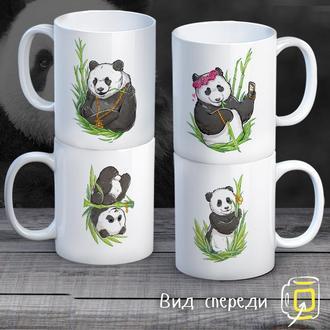 """К000309Семейные белые чашки (кружки) с принтом """"Панды в бамбуке"""""""