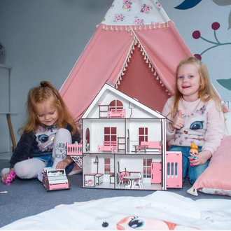 Дерев'яний ляльковий Будиночок DaBo Home для LOL c меблями і ліфтом