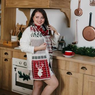 В'язаний шарф з оленями «Шотландець»