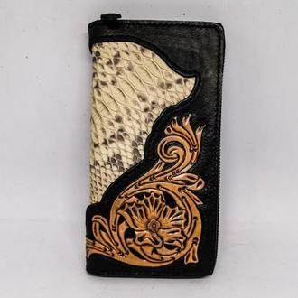 Кожаный кошелек с питоном на молнии