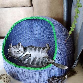 Лавандовый котодом, лежанка для кота, для кошки плетеная