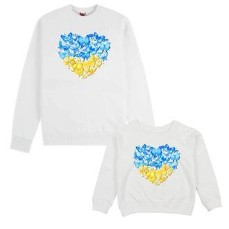 """СП004247Парные свитшоты с принтом """"Украинское сердце из бабочек"""" Push IT"""