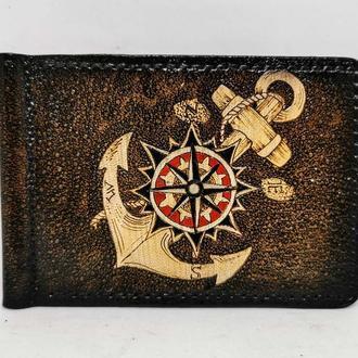 Кожаный зажим для купюр с якорем, кожаный зажим подарок моряку, стильный кожаный зажим для купюр