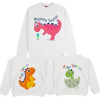 """СП004253Свитшоты Family Look с принтом """"Динозавры"""" Push IT"""