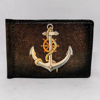 Кожаный зажим для купюр якорь, зажим для купюр подарок моряку, зажим для денег подарок близкому