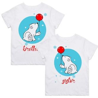 """ФП005823Парные футболки с принтом """"Brother. Sister"""" Push IT"""