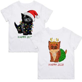 "ФП005826 Парні футболки з принтом ""Кошенята"" Push IT"