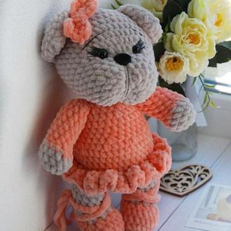 Мишка игрушка в оранжевом платье и пуантах