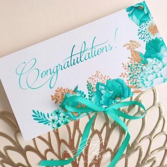 """Gift Box """"Izabella"""" Цвет 2 (бирюзовый) - открытка в коробочке"""