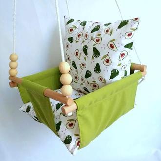 Качели детские подвесные цвет киви, подушечки авокадо
