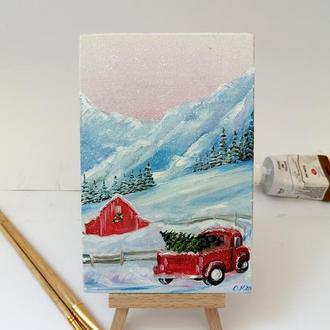 Миниатюра маслом красная машина в горах, Маленькая картина с машиной, Миниатюрная живопись