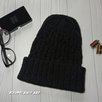 Стильная темно-серая шапка меринос и шелк