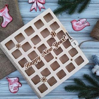 Деревянная книга, коробка для пряников, новогодняя коробка, адвент-книга, адвент-коробка