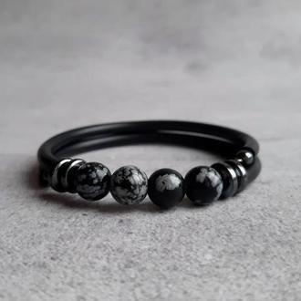 Стильный женский браслет с обсидианом. Браслет с натуральными камнями. Подарок.