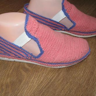 Летняя обувь Мокасины розовые Вязание