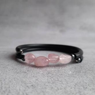 Нежный женский браслет с натуральными камнями розового кварца. Подарок.