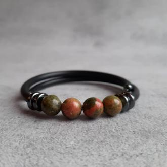 Женский браслет с унакитом. Браслет с натуральными камнями. Подарок.