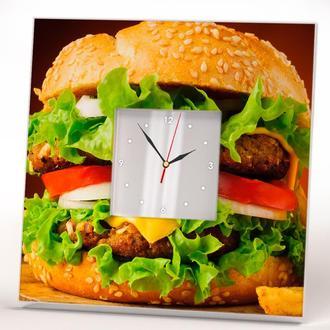 """Часы на стену или на стол с изображением и зеркальным циферблатом """"Сочный бургер"""""""