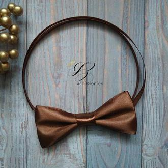 Атласна краватка метелик шоколадний