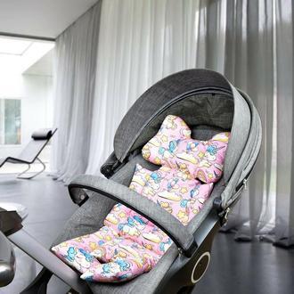 Бавовняний матрацик-вкладка універсальний в коляску, авто-крісло, шезлонг, стільчик