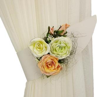 Подхват белый с розами