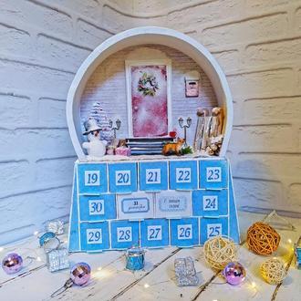 """Адвент-календарь """"С новым годом!"""" в форме снежного шара, с функцией ночника"""