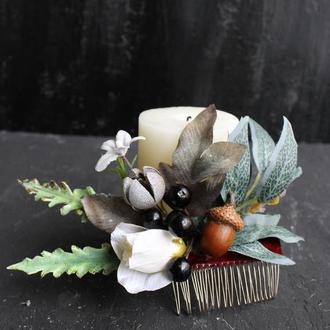 Зимний свадебный гребень с бутоньеркой набор