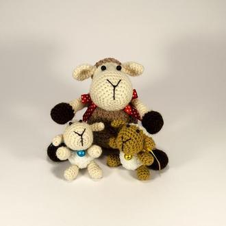 Семья Плюшевая Овечка и Ягнята, мягкая игрушка, вязаная крючком,