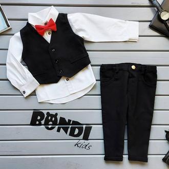 Нарядный костюм для мальчика с жилетом, черный, белый 80 р