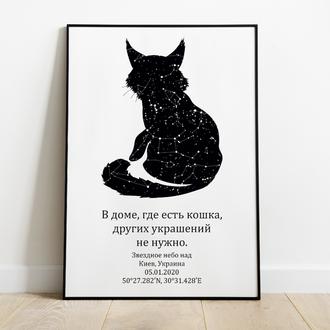 Звездная карта твоего питомца кошки