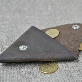 Треугольная монетница из натуральной кожи M01-450