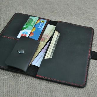 Небольшое портмоне из натуральной кожи черного цвета  K26-0+red