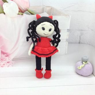 Кукла- чертёнок Дейзи крючком,22 см