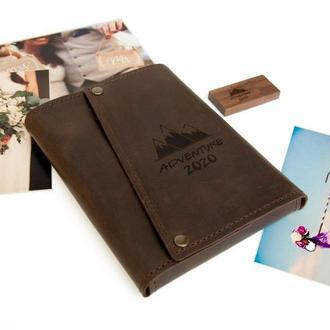 Коробка для фотографий в кожаном чехле на 50 фотографий