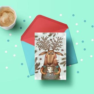 """Новогодняя открытка """"Милый олень"""""""