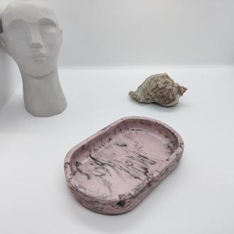 Мыльница из бетона (розовый мрамор)