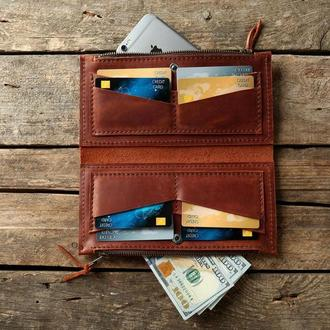 Портмоне. Клатч. Рыжий кошелек для паспорта, телефона и денег